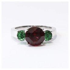 Lady's Vintage 18K Rhodolite & Tsavorite Garnet Ring