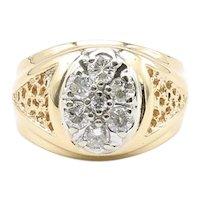 Mens Vintage 14K Diamond Cluster Ring