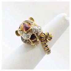 Rare Vintage 18K Diamond & Enameled Tiger Ring