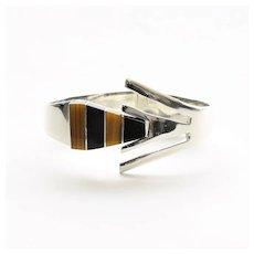 Vintage Sterling Silver Onyx & Tiger Eye Clamp Bracelet