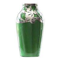 Circa 1900 Loetz Metallin Silver Overlay Vase