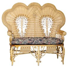 Magnificent Victorian Style Stick & Ball Wicker Loveseat