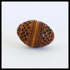 Circa 1880 Intricate Victorian Walnut Sewing Egg