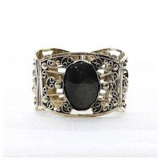 Vintage Chaldedony & Obsidian Mexican Silver Bracelet