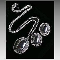 Charming Whiting & Davis Vintage Hematite Demi Parure