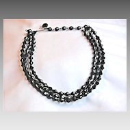 Vintage West Germany Black Faceted Glass Choker/Necklace