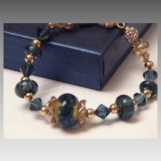 Boro Lampwork Bead Bracelet - Gorgeous Blues