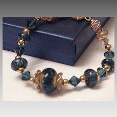 Boro Lampwork Bead Bracelet - Gorgeous Blues