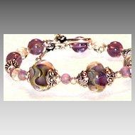 Lampwork Bracelet in Waves of Color