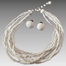 "West Germany porcelain torsade and screw back earrings 16 """