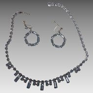 """15.5 """" Blue Rhinestone Necklace and Screw Earrings"""