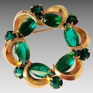 Large green glass circle pin, vintage goldtone brooch
