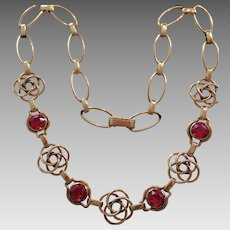 Stunning 15.5 inch bezel set pink stone necklace with Keltic knots