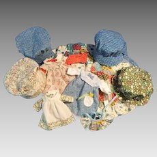 Lot of Vintage Holly Hobbie and Friend's Dresses and Bonnets, 1970s
