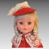 "Vintage 15"" Furga Doll, Red Velvet Outfit, 1960s"