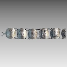 Sterling Mexican or Peruvian Bracelet 7 link