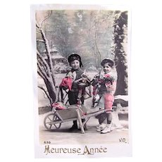 Tinted French Real Photo Postcard, Boys & Clown Dolls, Happy New Year, Circa 1910s