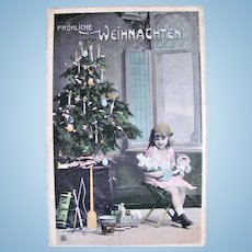 Tinted German Real Photo Postcard, Christmas Tree, Little Girl, Dolls and Toys, Circa 1910s