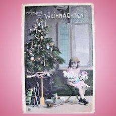 Tinted German Real Photo Postcard, Christmas Tree, Little Girl, Dolls and Toys, Circa 1910s