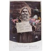 Hand Tinted French Postcard, Santa in Peach-colored Robe, Doll and Flowers, Circa 1910s