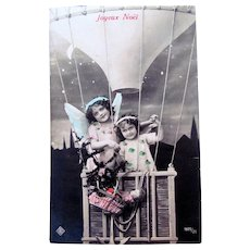 Tinted French Real Photo Postcard, Angels, Dolls in Hot Air Balloon, Merry Christmas, 1911