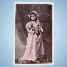 Tinted French Real Photo Postcard, Girl, Dolls and Toys, Merry Christmas,  Dated 1911