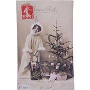 French Tinted Real Photo Christmas Postcard, Little Girl Playing Santa, Joyeux Noël, Circa 1910s