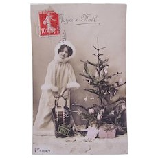 French Tinted Real Photo Christmas Postcard, Little Girl Playing Santa, Joyeux Noël, Circa 1910s