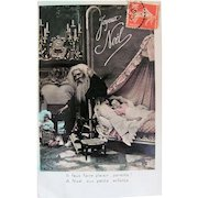 Hand Tinted French Postcard, Santa, Doll and Sleeping Child, Merry Christmas, Circa 1910s