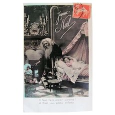 Hand Tinted French Postcard, Santa, Doll and Sleeping Child, Merry Christmas, Circa 1910s