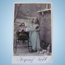 Tinted French Real Photo Postcard, Doll, Pedal Car, Angel and Toys, Merry Christmas, 1911