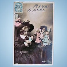 Rêve de Noël, French Tinted Real Photo Postcard, Schoolgirl and 6 Dolls, Postmarked 1906