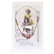 British Tinted Real Photo Postcard, Girl, Doll and Book, Birthday, Circa 1930s