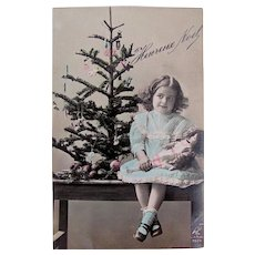 Hand Tinted French Real Photo Postcard, Little Girl, Doll and Christmas Tree, Dated 1913