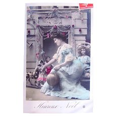 French Tinted Real Photo Postcard, Woman and 3 Dolls, Merry Christmas, Postmarked 1908
