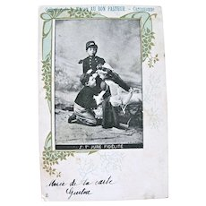 French Real Photo Postcard, 2 Little Soldiers, Girl and Doll, Postmarked 1903