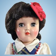 Toni Doll, Ideal P-90 Brunette in Original Box with Play Wave Set, Vintage 1950s