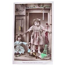 French Tinted Real Photo Postcard, Girl, Dolls and Toys, Merry Christmas, Vintage 1919