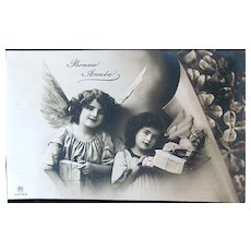 French Christmas Card, Angels Delivering Doll and Gifts, Real Photo Postcard, Circa 1910s