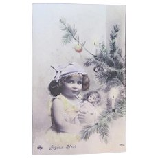 Hand Tinted French Postcard, Girl, Doll and Tree, Merry Christmas, Postmarked 1905