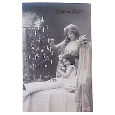 French Christmas Card, Angel, Girl, Doll and Tree, Real Photo Postcard, Dated 1912