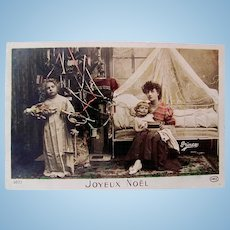 Hand Tinted French Postcard, Mother, Children, Doll, Toys and Tree, Merry Christmas, Circa 1910s