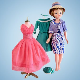 Candy 20-Inch Fashion Doll, Dress Form, 3 Original Ensembles, Deluxe Reading Vintage 1962