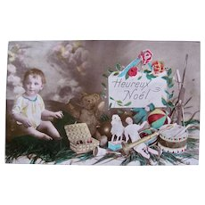 Tinted French Real Photo Postcard, Little Child, Dolls, Teddy Bear and Toys, Circa 1910s