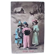 French Tinted Real Photo Postcard, Children, Doll and Toys, Circa 1910s