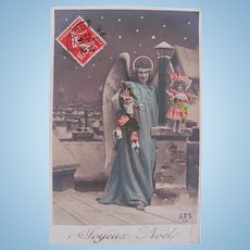 Tinted French Real Photo Postcard, Blue Angel with Dolls, Joyeux Noël Postmarked 1908