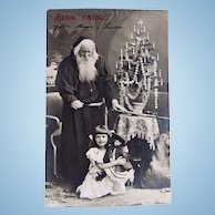 Italian Real Photo Postcard, Santa, Girl, Dolls and Tree, Dated 1907