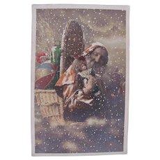 Tinted French Real Photo Postcard, Orange Robe Santa, Dolls and Toys, Postmarked 1913