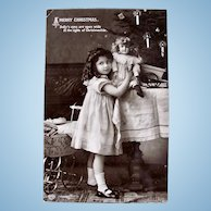 Real Photo Postcard, Girl and Doll, Christmas, Circa 19-teens