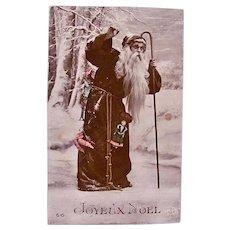 Tinted French Real Photo Postcard, Santa, Dolls and Toys, Circa 1910s